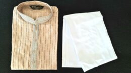 Beige yellow striped mens kurta Pyjama set