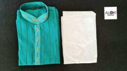 Green with orange striped soft cotton Mens kurta Pyjama set