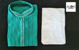 Green with blue striped soft cotton Mens kurta Pyjama set