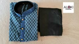 Blue and black silk blend Indian Mens kurta Pyjama set 6