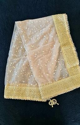 Gold soft Net Dupatta with gold embelished border