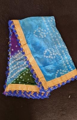 Blue and purple Bandhani dupatta