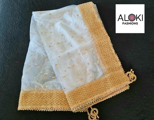 White coloured soft Net Dupatta with embellished border