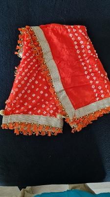 Orange colored Bandhani dupatta