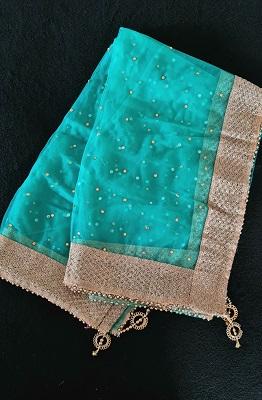 Green soft Net Dupatta with gold embelished border