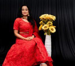 Red net sequin bridal lehenga set