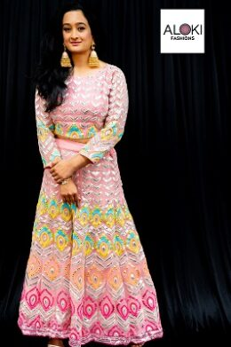 Peach Georgette Party Wear Lehenga Choli with multi colored thread work and foil mirrors