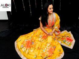 Yellow And Orange printed Organza Lehenga Choli