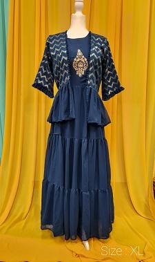 Dark blue gown with sequin overcoat