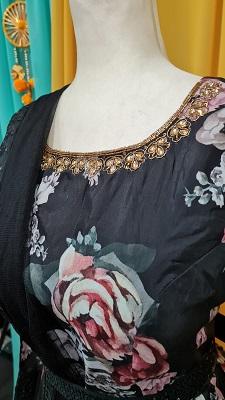 Black Cotton Party Wear Digital Print Gown