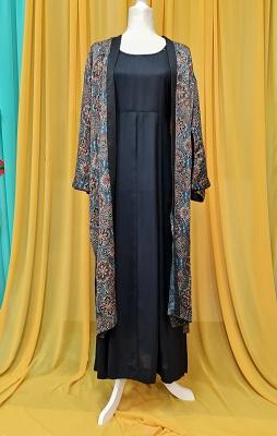 Black rayon gown with ajrak printed kimono