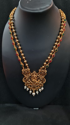 Gold toned Pink and green 2 layered Lakshmi necklace set