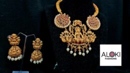 Premium Quality matte finish lakshmi temple jewellery set