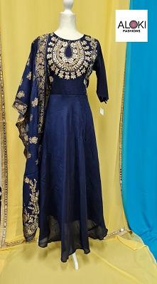 Dark blue silk long gown with silk dupatta