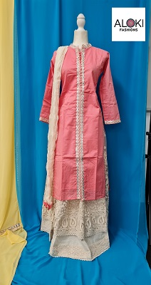 Pink kurti with cream color heavy net skirt
