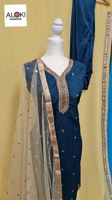 Gold embroidered blue silk salwar kameez