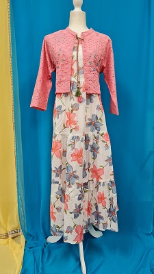 White floral gown with pink overcoat