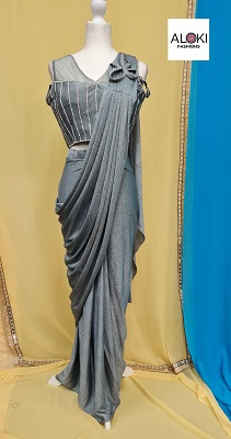 Grey Shimmer Pre-Stitched lycra saree with sequin blouse