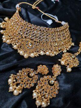 Gold bridal wear kundan choker set
