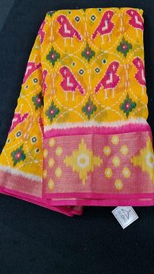 Yellow and pink Pochampally cotton saree