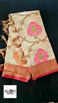 Cream kora muslin saree with floral thread work
