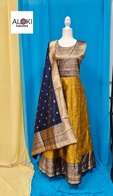 Green and blue raw silk anarkali gown