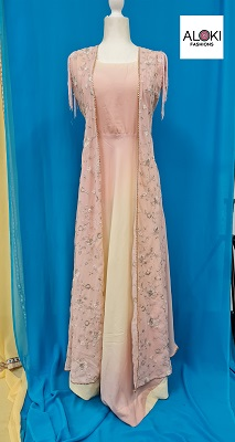 Pastel pink and yellow georgette gown with overcoat