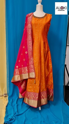 Orange and pink raw silk anarkali gown