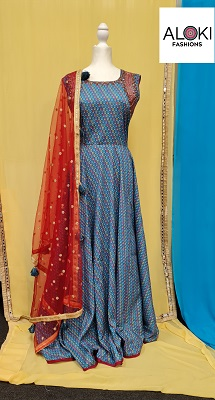 Printed Blue anarkali gown with red net dupatta