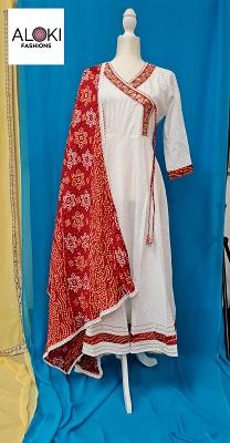 White Angarkha pattern khadi cotton kurti with crushed silk dupatta
