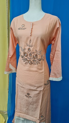 Peach and white embroidered gown with bell sleeves