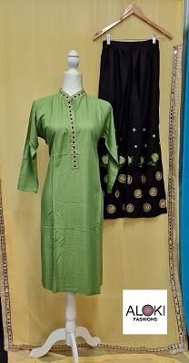 Green and black embroidered rayon palazzo set
