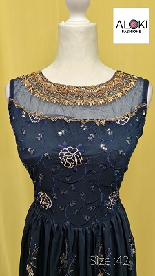 Navy blue faux georgette embroidered long anarkali gown dress