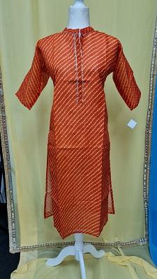 Red striped cotton kurti with gota patti lace