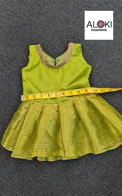 Green colored silk baby frock