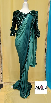 Dark green ready to wear lycra saree with sequin blouse