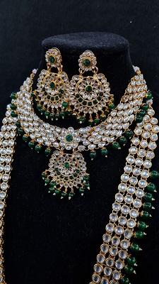 Premium quality green kundan bridal set