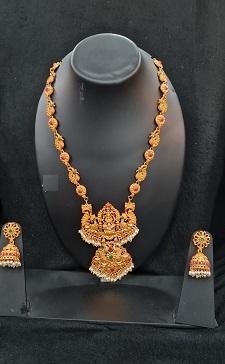 Matt finish gold Lakshmi temple necklace set