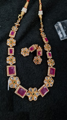 White and pink AD stone necklace set